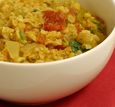 Mexican red lentil and brown rice stew, adapted from Kalyn's Kitchen