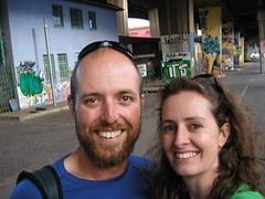 Ray Chaplin and Telana, checking out the graffiti in Newtown, Jozi