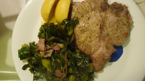 Chamomile pork chops with bacon/shallot/sherry braised collards