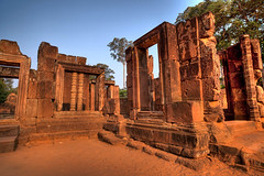 Red Sandstone of Banteay Srei (0aperture) Tags: architecture zeiss temple cambodia khmer buddhist monk monks 5d dynamicrange siemreap angkor hdr hindi ze banteaysrei distagon uwa ultrawideangle 2128 canoneo