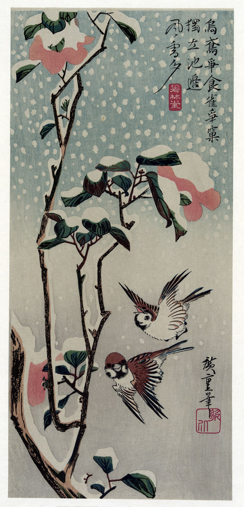 Hiroshige Utagawa, Sparrow and Camellias in the Snow