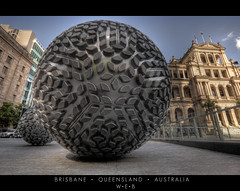 Brisbane  Queensland   Australia (William Bullimore) Tags: sculpture art architecture ball buildings pavement au balls australia ground brisbane sphere queensland handheld spheres colander ballina colanders