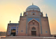Baha-ud-din Zakariya's Tomb (Javaria&Khadeeja) Tags: morning blue pakistan sunset music beauty saint architecture asia tomb culture mosque soul dome mystical tradition punjab dslr sufi multan nikond60 shahruknealam pakistantravel bahauddinzakariya sothasia