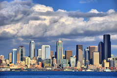Metropolitan Under Marshmallows (El Justy) Tags: seattle city sky test colors ferry skyline architecture clouds washington downtown cityscape skyscrapers image gorgeous details westseattle pacificnorthwest alkibeach pugetsound capture jpeg emeraldcity hdr elliotbay kingcounty seattleskyline jetcity wsd testsubject meganfox justinrice thisisnotalaska closetosooc riceimages mygearandmepremium washingtonstatedowntowns mygearandmebronze mygearandmesilver mygearandmegold mygearandmeplatinum mygearandmediamond rookieattemptathdr