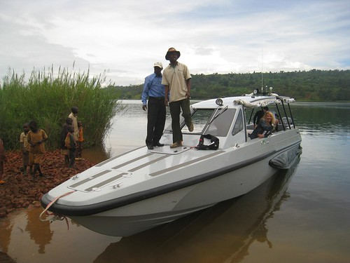 Our speed boat stops at a village on one of the lake's larger islands.