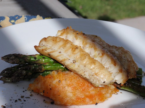 Grilled Cod with Carrot Parsnip Puree
