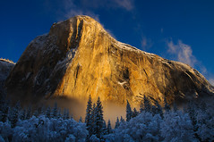 El Capitan, Yosemite National Park, California, US (Xindaan) Tags: california trip morning travel blue schnee winter light vacation sky orange usa cloud white mist mountain holiday snow tree art nature berg yellow rock fog clouds forest sunrise landscape geotagged dawn licht us nationalpark nikon scenery nebel unitedstates nevada natur himmel wolke wolken sierra yosemite granite yosemitenationalpark dmmerung blau nikkor elcapitan sierranevada 16mm landschaft wald sonnenaufgang f11 morgen baum yosemitevalley 2010 conifer d300 yosemitevillage broadleaf sidelight granit weis 1685 nadelbaum laubbaum 1685mm nikkorafs1685mmf3556gvr afs1685mmf3556gvr afs1685mm