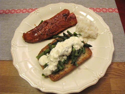 Teriyaki salmon, asparagus on toast, rice