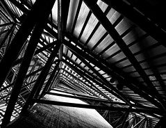 Triangles (purepacha) Tags: lighting white abstract black art up lines metal museum triangles dark manchester cool triangle war perspective shapes points imperial poles salford quays vanishing leading ligh