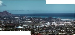 Waikiki & Honolulu from Above  1959 (ElectroSpark) Tags: beach vintage 1950s tropical kodachrome tiki aerials hawaiiana