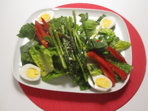 Big salad with eggs and asparagus