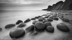 Bowling Ball Beach (Grant Ordelheide) Tags: ocean california ca longexposure trees blackandwhite bw water northerncalifornia coast highwayone sand rocks balls cliffs coastline mendicino 2010 bowlingballs pointarena gualala bowlingballbeach diagonallines wondersofnature roundrocks schoonergulch grantordelheide