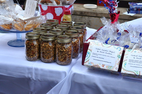 pints of granola at bake sale