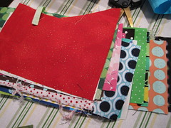 more polka dot fabric waiting to be made into pieces of the dresden plate block