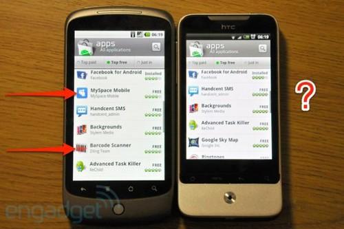 Un Android Market jusqu'alors incomplet pour l'HTC Legend. © engadget.com