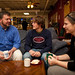 Dr. Mark Sawin, history professor, enjoys a cup of coffee with students in Common Grounds coffeeshop.