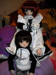 Namiko and Yumiko in Volks wigs (msgeek93) Tags: pretty mini pixie volks tomboy frilly demure namiko yumiko maido dollfiedream