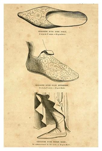 002-Calzado damas burguesas siglos V y VI-Histoire de la chaussure depuis l'antiquité-1862- Paul Lacroix y Alphonse Duchesne