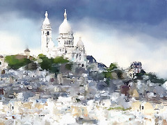 View of Montmartre, Paris (piker77) Tags: painterly paris france art architecture digital photoshop watercolor painting interesting media natural aquarelle digitale manipulation simulation montmartre peinture illusion virtual watercolour transparent acuarela tablet technique wacom stylized pintura imitation  aquarela aquarell emulation malerei pittura virtuale virtuel naturalmedia urbanpics    piker77wc arthystorybrush