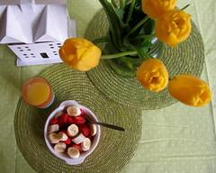 Breakfast with Tulips (karharvey) Tags: morning orange white house cute green yellow breakfast table tulips juice strawberries polka dot bananas cloth