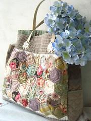 handmade quilted Grandmother's garden patchwork bag (STORY QUILT) Tags: rose garden bag happy diy lace sew patchwork applique handbag