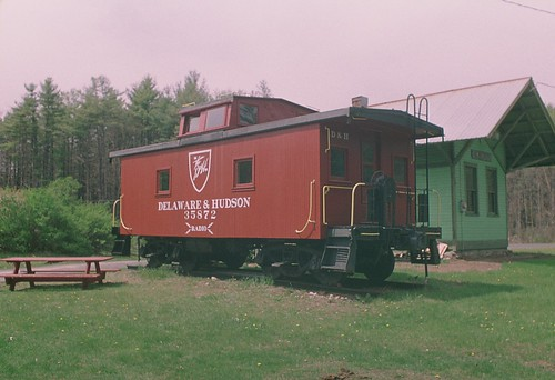 Restored Delaware and Hudson caboose, Greenfield Center, NY