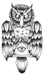 old school owl dotwork tattoo design (craigy lee) Tags: old school black london eye tattoo work ouch design all arm flash feathers oldschool dot tattoos lee seeing owl custom craigy dotwork