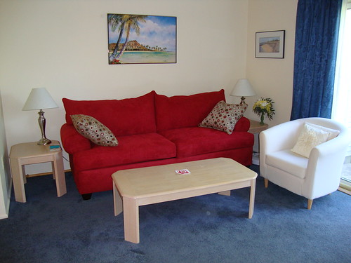 couch with diamond head print