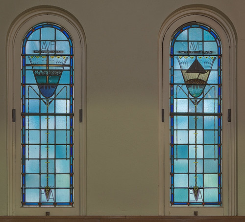 Immaculate Conception Roman Catholic Church, in Maplewood, Missouri, USA - stained glass windows with Mary's titles