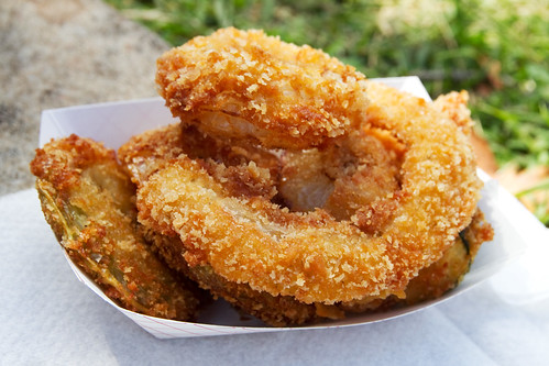 fried green tomatoes, fried zucchini, onion rings