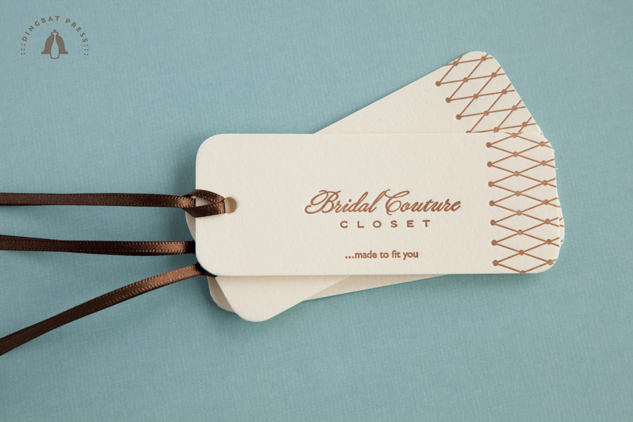 Bridal Couture Closet, Letterpress product tags