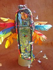 Wind Talker Becomes the Wire Talker  ~ 1 of 6 photos (Urban Woodswalker) Tags: nativeamerican sculpture recycledmaterials foundobjects feathers technology ww2codes beauty buffalo mixedmedia adaptation colorfulfeathers circuitboads ooak urbanwoodswalker maryanneenriquez maenriquez