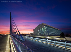 The new Calatrava's bridge and the Science Museum: Blue and Magenta series (Salva del Saz) Tags: city bridge blue santiago espaa valencia museum digital canon point puente atardecer eos spain angle dusk wide perspective arts magenta ciudad science calatrava gran museo cac vanishing angular artes ultra ocaso 1022mm dri felipe sciences blending ciencias puntodefuga principe extremo efs1022mm dynamicrangeincrease 40d salvadordelsaz salvadelsaz assutdor