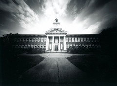 Roosevelt HS - Pinhole (seanmophoto) Tags: school sky film lines clouds portland polaroid fuji angle image wide roosevelt pinhole 25 instant 4x5 zero vignette 100b
