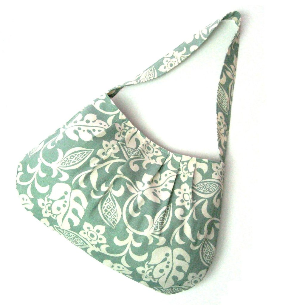 PLEATED SHOULDER BAG PURSE Florals in Sea Foam Blue Green