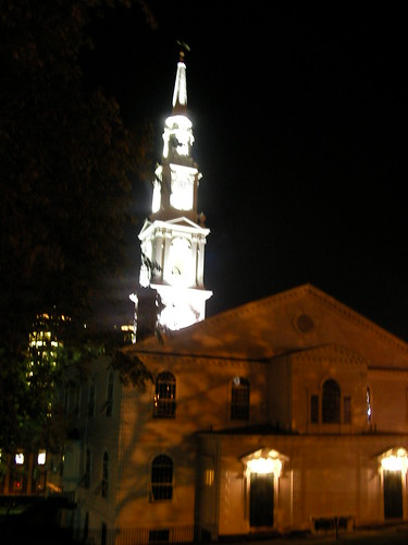 First Baptist Church Spire at night