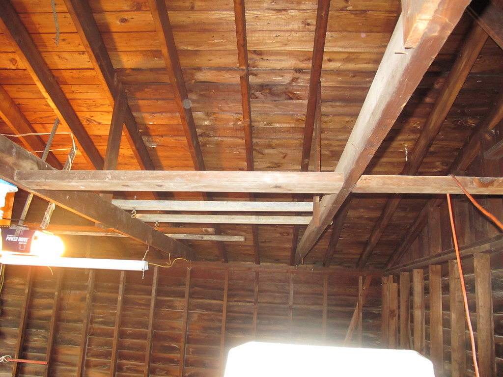 Detached Garage Raising Ceiling Rafters Pics Building