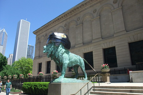 Art Institute Lion with Blackhawks Helmet