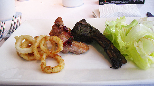 Lunch: Appetizers - fried calamari, chicken al ajillo, and minted lamp chops