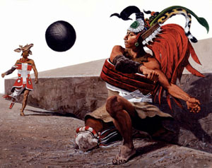 Mayas jugando a la pelota en Guatemala