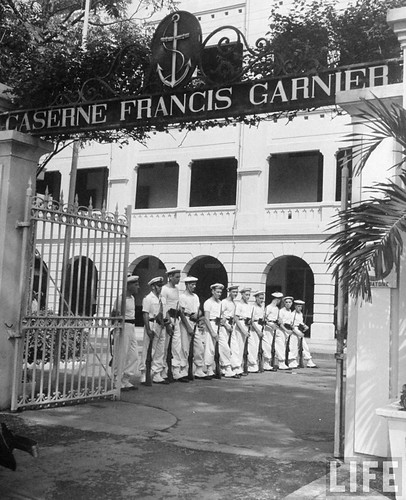 Saigon 1948 - French soldiers standing guard in front of memorial, in French Indo China.