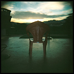 May I offer you a seat? (khai_nomore) Tags: 120 sunrise mediumformat lowlight toycamera hills fields rm holga120cfn f13 autaut kulimhitech 60mmplasticlens fujifilm800npzexpired2007