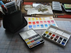 Watercolor Boxes (MagaMerlina) Tags: watercolour watercolors winsorandnewton bijoubox sketchingtools cotmansketcherspocketbox