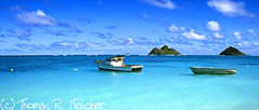 Fishing boats, Lanikai Beach, Mokulua Islands (travelphotographer2003) Tags: vacation usa beach hawaii paradise oahu bluesky driftwood pacificocean fishingboats mokuluaislands bluesea lanikaibeach thomasrfletcher