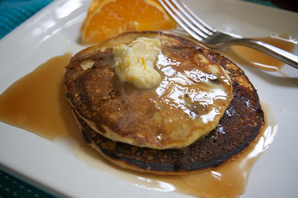 Blueberry Cornmeal Pancakes with Orange Maple Butter ...
