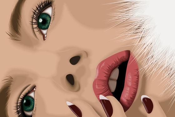 rostro de mujer en vectores