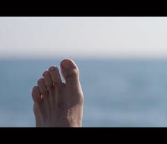 Foot @ the Beach (costa.federico) Tags: sea beach canon foot see mar seaside mare stones 100mm pietre 7d sassi rocce f4 piede kursaal bordighera