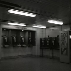 .. (Js) Tags: blackandwhite bw toronto station night mediumformat booth subway square ttc telephone bank hc110 delta 3200 ilford yashica phones 20c mat124g spadinastation 8min
