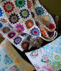 Crochet blanket (mo + me) Tags: cat colorful crochet handcrafted patchwork vintagefabrics aboutmoandmeblogspotcom