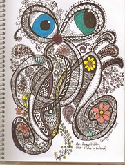 Running Ribbons, aka Gizzy by hubby (craftydr) Tags: zentangle zendoodle pittpenssepiatones sharpiecoloredmarkers pittpenblack